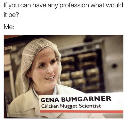 Professional, Scientist, and Chicken Nuggets: If you can have any profession what would  it be?  Me  GENA BUMGARNER  Chicken Nugget Scientist  BRADBURY