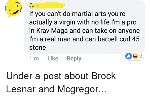 Life, Virgin, and Brock: If you can't do martial arts you're  actually a virgin with no life I'm a pro  in Krav Maga and can take on anyone  I'm a real man and can barbell curl 45  stone  032  > K  1 m Like Reply