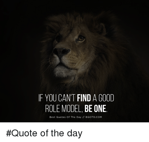 If YOU CANT FIND A GOOD ROLE MODEL BE ONE Best Quotes Of The Day Enchanting Role Model Quotes