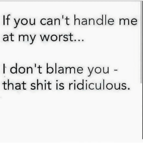 Shit, Blame, and You: If you can't handle me  at my worst..  I don't blame you  that shit is ridiculous.