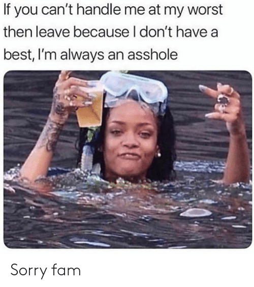 Dank, Fam, and Sorry: If you can't handle me at my worst  then leave because I don't havea  best, I'm always an asshole Sorry fam