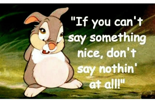 if you can t say something nice don t say nothin at all meme on rh me me if you can't say anything nice gif thumper if you can't say anything nice