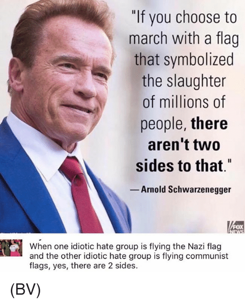 "Arnold Schwarzenegger, Memes, and Communist: ""If you choose to  march with a flag  that symbolized  the slaughter  of millions of  people, there  aren't two  sides to that""  Arnold Schwarzenegger  FOX  When one idiotic hate group is flying the Nazi flag  and the other idiotic hate group is flying communist  flags, yes, there are 2 sides. (BV)"