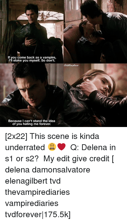 Memes, Forever, and Back: If you come back as a vampire,  l'll stake you myself. So don't.  Because I can't stand the idea  of you hating me forever. [2x22] This scene is kinda underrated 😩❤️ ⠀ Q: Delena in s1 or s2? ⠀ My edit give credit [ delena damonsalvatore elenagilbert tvd thevampirediaries vampirediaries tvdforever|175.5k]