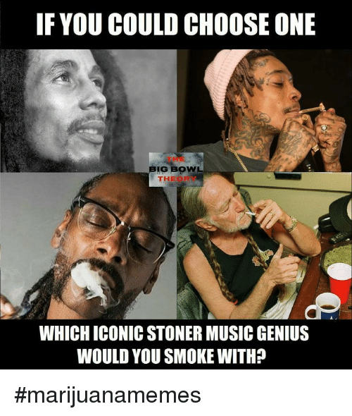 Choose One, Music, and Genius: IF YOU COULD CHOOSE ONE  THE  BIG BOW  THEOR  WHICH ICONIC STONER MUSIC GENIUS  WOULD YOU SMOKE WITH? #marijuanamemes