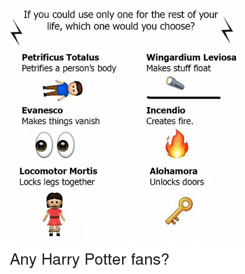 Fire, Harry Potter, and Life: If you could use only one for the rest of your  life, which one would you choose?  Petrificus Totalus  Petrifies a person's body  Wingardium Leviosa  Makes stuff float  Evanesco  Makes things vanish  Incendio  Creates fire.  Locomotor Mortis  Locks legs together  Alohamora  Unlocks doors  囟 Any Harry Potter fans?