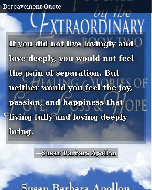 SIZZLE: If you did not live lovingly and love deeply, you would not feel the pain of separation. But neither would you feel the joy, passion, and happiness that living fully and loving deeply bring.