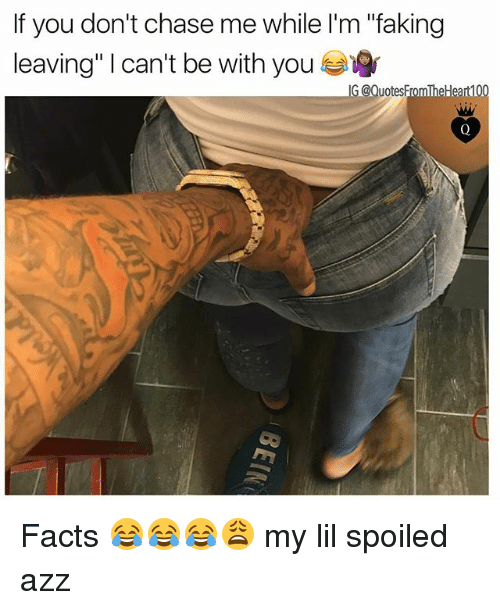 """Facts, Memes, and Chase: If you don't chase me while l'm """"faking  leaving"""" 