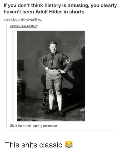 Memes, History, and Hitler: If you don't think history is amusing, you clearly  haven't seen Adolf Hitler in shorts  pure-blood-idjit-of-gallifrey:  castiel-is-a-assbutt  Zis if from mein spring collection This shits classic 😹