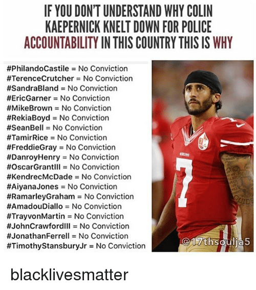Black Lives Matter, Colin Kaepernick, and Memes: IF YOU DON'T UNDERSTAND WHY COLIN  KAEPERNICK KNELT DOWN FOR POLICE  ACCOUNTABILITY IN THIS COUNTRY THIS IS WHY  #PhilandoCastile = No Conviction  #TerenceCrutcher = No Conviction  #SandraBland = No Conviction  #EricGarner = No Conviction  #MikeBrown = No Conviction  #RekiaBoyd = No Conviction  #SeanBell = No Conviction  #TamirRice = No Conviction  #FreddieGray = No Conviction  #DanroyHenry = No Conviction  #OscarGrantIII = No Conviction  #KendrecMcDade = No Conviction  #AlyanaJones = No Conviction  #RamarleyGraham = No Conviction  #AmadouDiallo = No Conviction  #TrayvonMartin = No Conviction  #JohnCrawfordlll = No Conviction  #JonathanFerrell = No Conviction  #TimothyStansburyJr = No Conviction blacklivesmatter