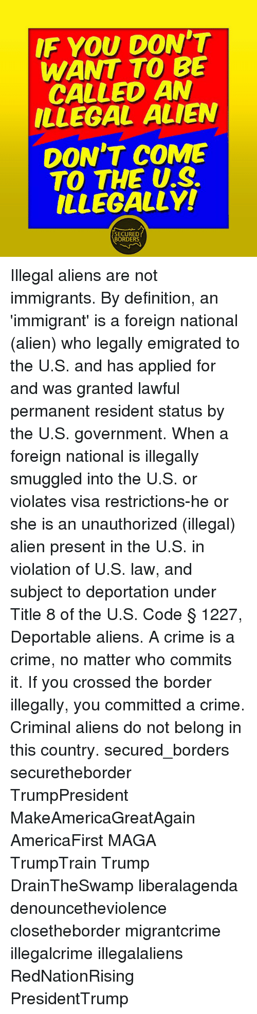 if you don't want to be called an illegal alien don't come to the us