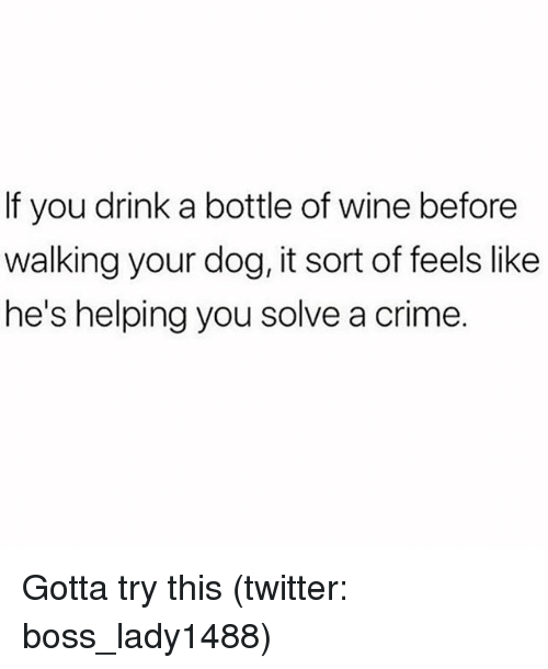 Crime, Twitter, and Wine: If you drink a bottle of wine before  walking your dog, it sort of feels like  he's helping you solve a crime. Gotta try this (twitter: boss_lady1488)