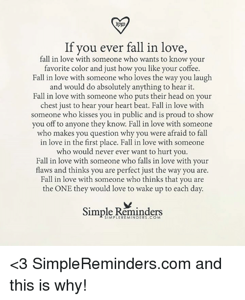 why you fall in love with someone