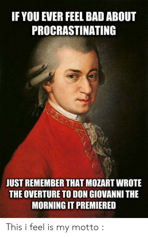 Bad, Mozart, and Don: IF YOU EVER FEEL BAD ABOUT  PROCRASTINATING  JUST REMEMBER THAT MOZART WROTE  THE OVERTURE TO DON GIOVANNI THE  MORNING IT PREMIERED This i feel is my motto :