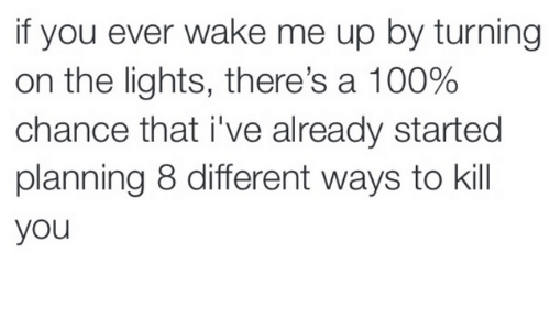 Dank, Turn on the Lights, and 🤖: if you ever wake me up by turning  on the lights, there's a 100%  chance that i've already started  planning 8 different ways to kill  you