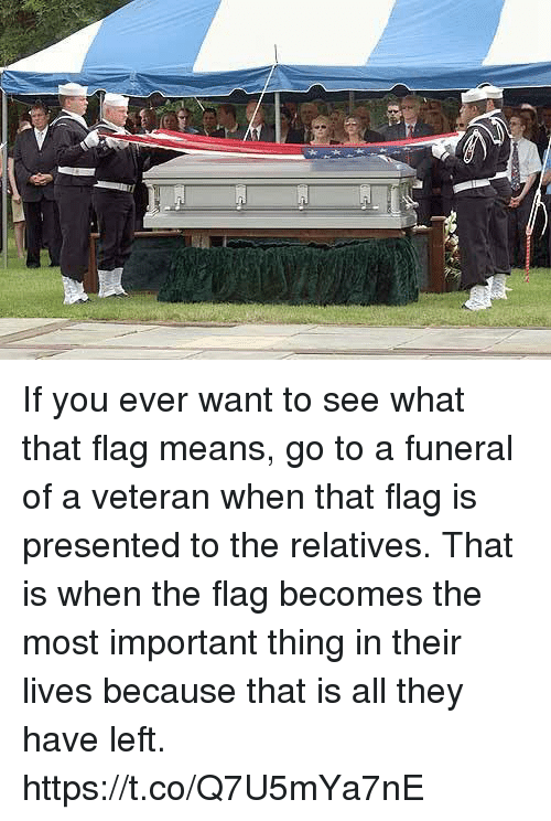Memes, 🤖, and Means: If you ever want to see what that flag means, go to a funeral of a veteran when that flag is presented to the relatives. That is when the flag becomes the most important thing in their lives because that is all they have left. https://t.co/Q7U5mYa7nE