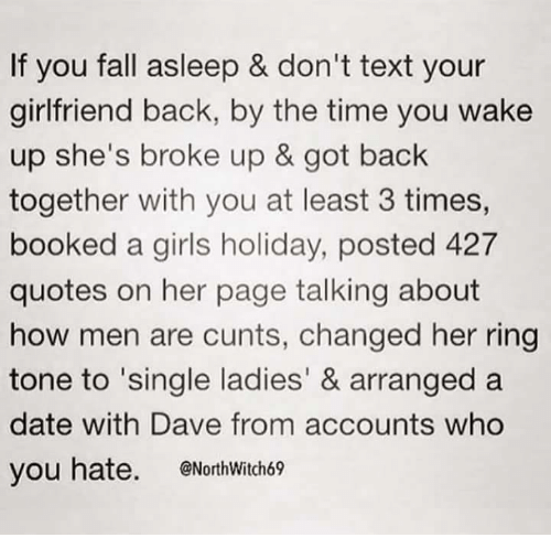 If You Fall Asleep Dont Text Your Girlfriend Back By The Time You