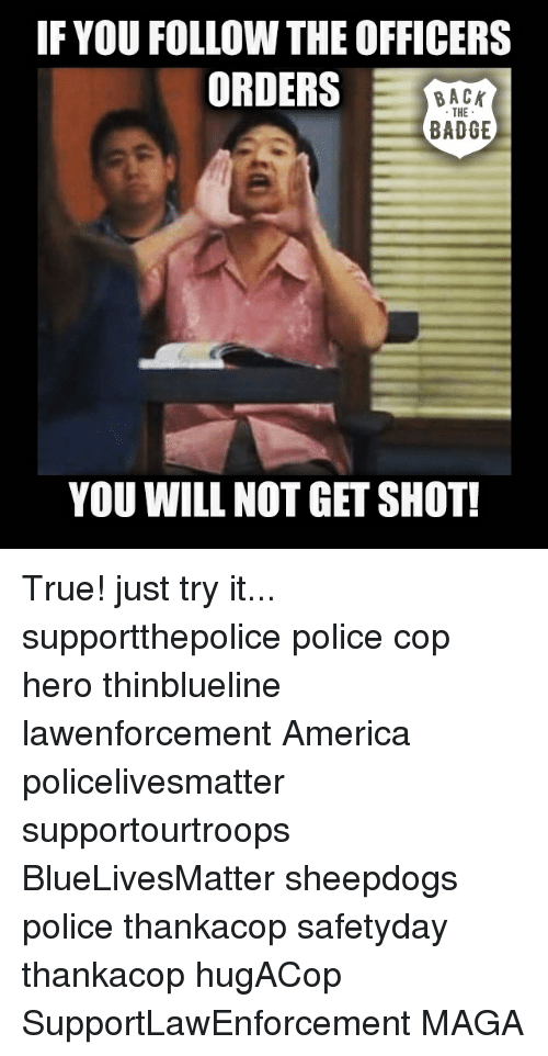 America, Memes, and Police: IF YOU FOLLOW THE OFFICERS  ORDERS  BACK  THE  BADGE  YOU WILL NOT GET SHOT! True! just try it... supportthepolice police cop hero thinblueline lawenforcement America policelivesmatter supportourtroops BlueLivesMatter sheepdogs police thankacop safetyday thankacop hugACop SupportLawEnforcement MAGA