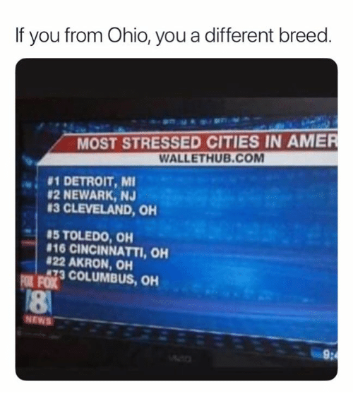 If You From Ohio You A Different Breed Most Stressed Cities In Amer