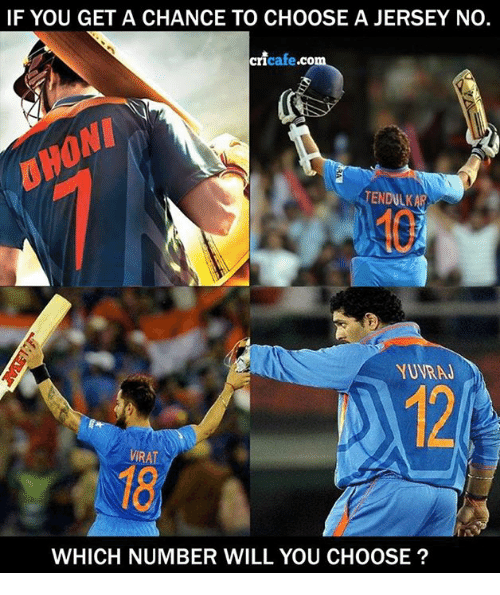 Memes, 🤖, and Dhoni: IF YOU GET A CHANCE TO CHOOSE A JERSEY NO.  cricafe.co  DHONI  TENDULKAR  YUVRAJ  12  VIRAT  18)  WHICH NUMBER WILL YOU CHOOSE?