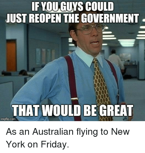 Friday, New York, and Government: IF YOU GUYS COULD  JUST REOPEN THE GOVERNMENT  THAT WOULD BE GREAT  imgflip.com As an Australian flying to New York on Friday.