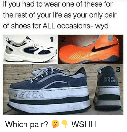 Life, Memes, and Shoes: If you had to wear one of these for  the rest of your life as your only pair  of shoes for ALL occasions- wyd  3  AUS Which pair? 🤔👇 WSHH