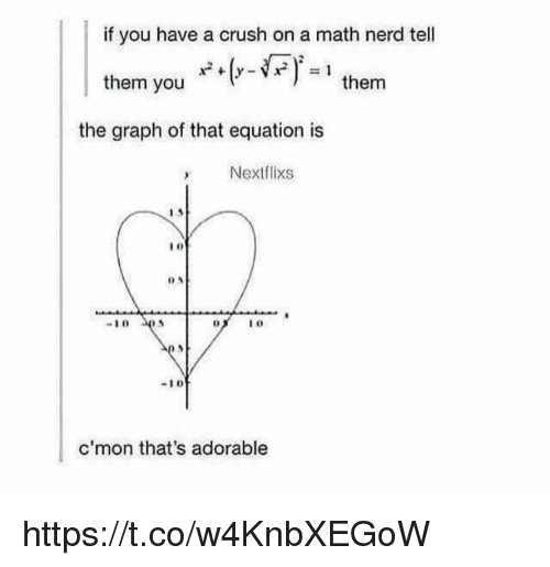 Crush, Memes, and Nerd: if you have a crush on a math nerd tell  them you  them  the graph of that equation is  Nextflixs  -10  c'mon that's adorable https://t.co/w4KnbXEGoW