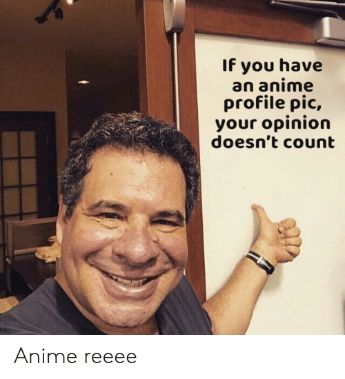 Anime, You, and Pic: If you have  an anime  profile pic,  your opinion  doesn't count Anime reeee