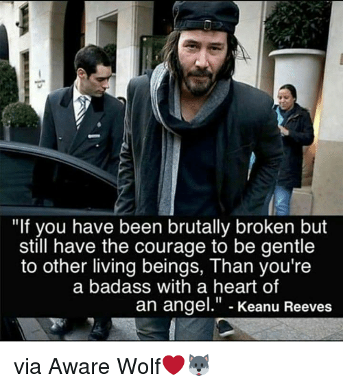 "Angel, Heart, and Wolf: ""If you have been brutally broken but  still have the courage to be gentle  to other living beings, Than you're  a badass with a heart of  an angel."" - Keanu Reeves via Aware Wolf❤️🐺"
