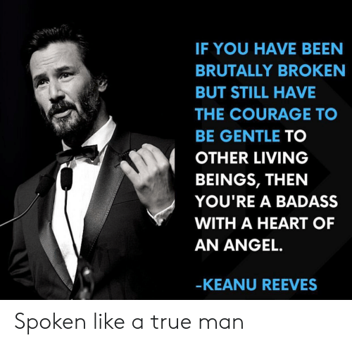 True, Angel, and Heart: IF YOU HAVE BEEN  BRUTALLY BROKEN  BUT STILL HAVE  THE COURAGE TO  BE GENTLE TO  OTHER LIVING  BEINGS, THEN  YOU'RE A BADASS  WITH A HEART OF  AN ANGEL.  -KEANU REEVES Spoken like a true man