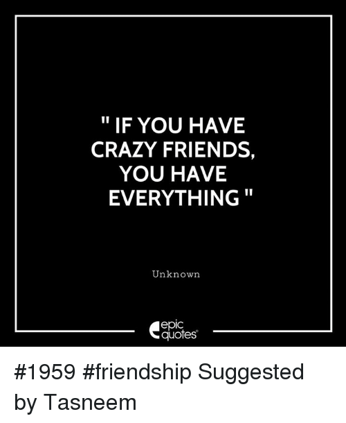 Crazy Friends Quotes IF YOU HAVE CRAZY FRIENDS YOU HAVE EVERYTHING Unknown Epic Quotes  Crazy Friends Quotes