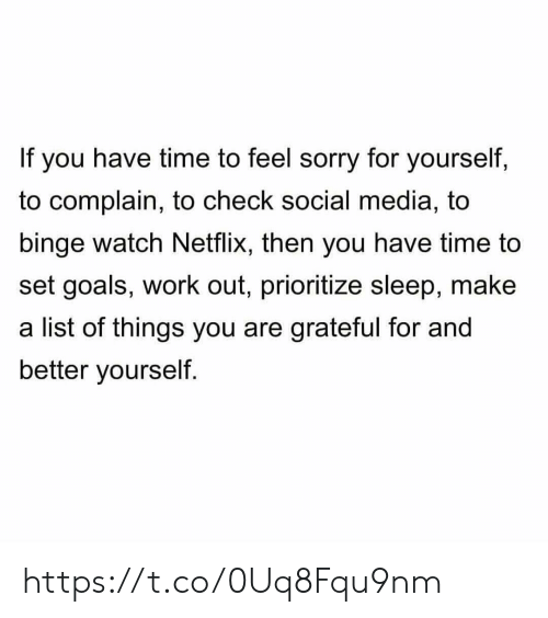 Goals, Memes, and Netflix: If you have time to feel sorry for yourself,  to complain, to check social media, to  binge watch Netflix, then you have time to  set goals, work out, prioritize sleep, make  a list of things you are grateful for and  better yourself. https://t.co/0Uq8Fqu9nm