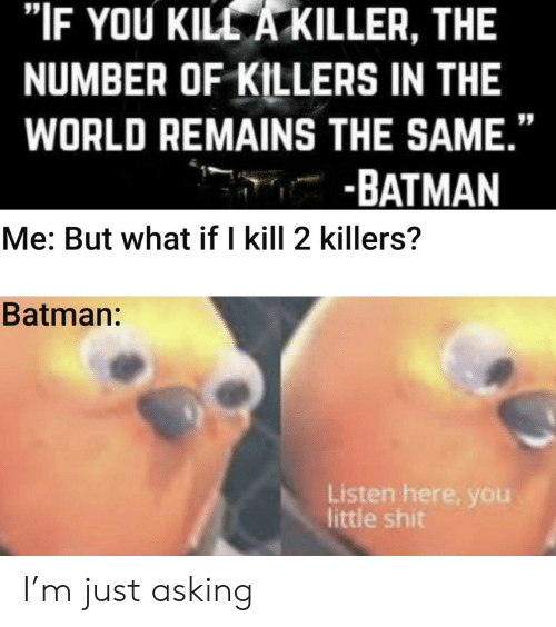 """Batman, World, and Asking: """"IF YOU KILL A KILLER, THE  NUMBER OF KILLERS IN THE  WORLD REMAINS THE SAME.""""  -BATMAN  Me: But what if I kill 2 killers?  Batman:  Listen here, you  little shit I'm just asking"""