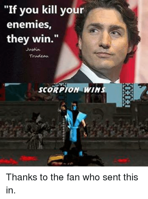 If You Do What You Like At Least One Person Will Be: If You Kill Your Enemies They Win Trudeau SCORPION WIN