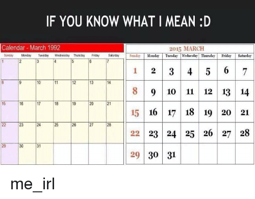 If You Know What I Mean D Calendar March 1992 2015 March Sunday