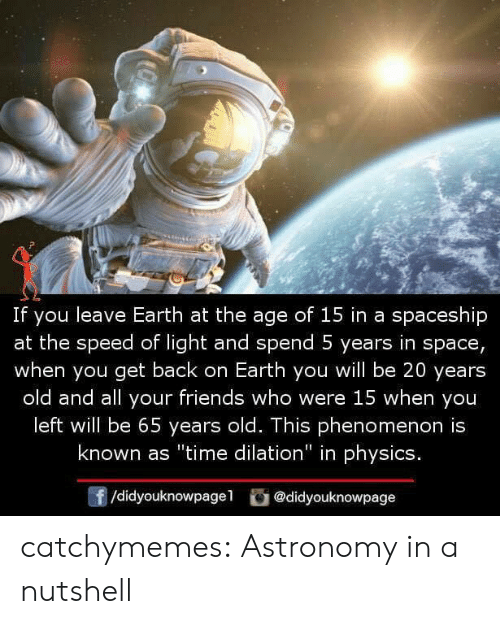 """Friends, Tumblr, and Blog: If you leave Earth at the age of 15 in a spaceship  at the speed of light and spend 5 years in space,  when you get back on Earth you will be 20 years  old and all your friends who were 15 when you  left will be 65 years old. This phenomenon is  known as """"time dilation"""" in physics.  /didyouknowpagel @didyouknowpage catchymemes: Astronomy in a nutshell"""