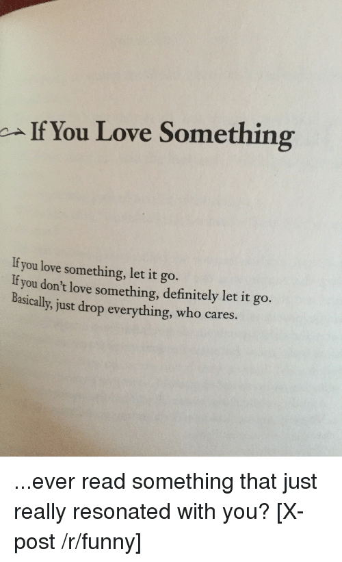 If You Love Something You Love Something Let It Go It You Dont Love