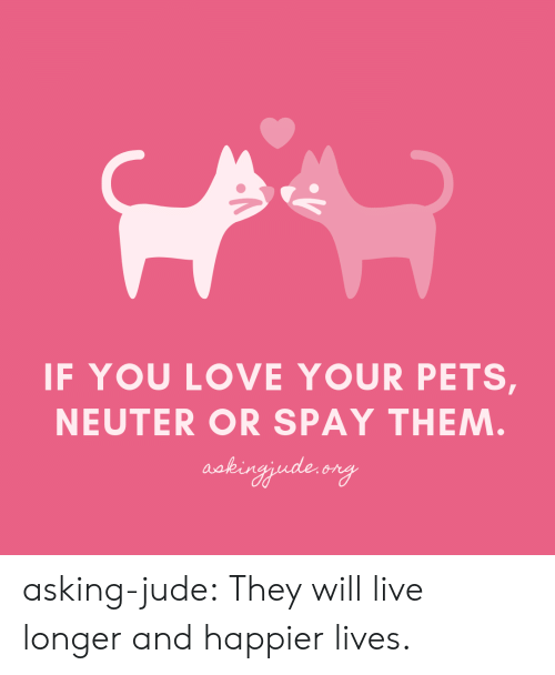 Love, Tumblr, and Blog: IF YOU LOVE YOUR PETS,  NEUTER OR SPAY THEM  aakin asking-jude:  They will live longer and happier lives.