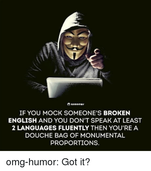 Omg, Tumblr, and Blog: IF YOU MOCK SOMEONE'S BROKEN  ENGLISH AND YOU DON'T SPEAK AT LEAST  2 LANGUAGES FLUENTLY THEN YOU'RE A  DOUCHE BAG OF MONUMENTAL  PROPORTIONS. omg-humor:  Got it?