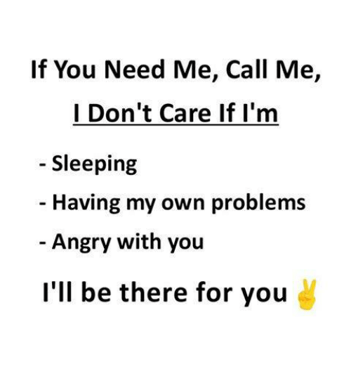 Memes, Sleeping, and Angry: If You Need Me, Call Me,  I Don't Care If I'm  Sleeping  Having my own problems  Angry with you  l'll be there for you