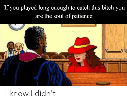 Bitch, Patience, and Dank Memes: If you plaved long enough to catch this bitch you  are the soul of patience. I know I didn't