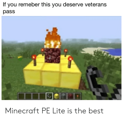 If You Remeber This You Deserve Veterans Pass Minecraft PE Lite Is