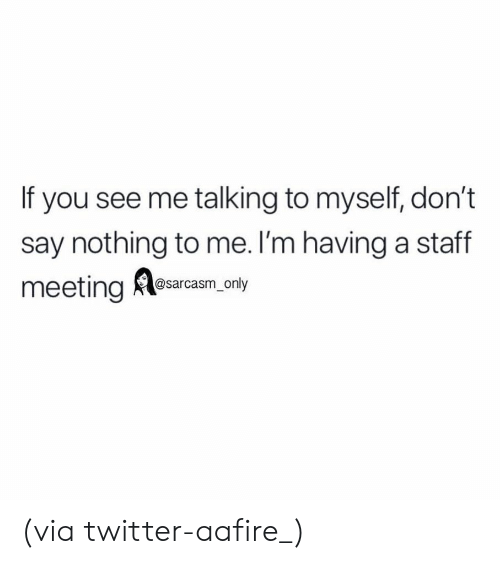 Funny, Memes, and Twitter: If you see me talking to myself, don't  say nothing to me. l'm having a staff  meeting Alesarcam, nty (via twitter-aafire_)