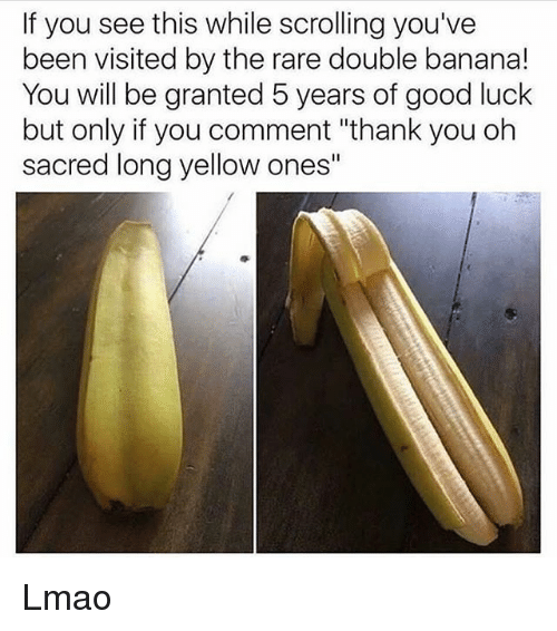 "Lmao, Tumblr, and Thank You: If you see this while scrolling you've  been visited by the rare double banana!  You will be granted 5 years of good luck  but only if you comment ""thank you oh  sacred long yellow ones"" Lmao"