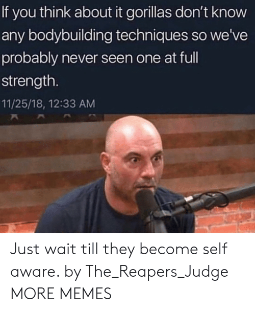 Dank, Memes, and Target: If you think about it gorillas don't know  any bodybuilding techniques so we've  probably never seen one at ful  strength.  11/25/18, 12:33 AM Just wait till they become self aware. by The_Reapers_Judge MORE MEMES