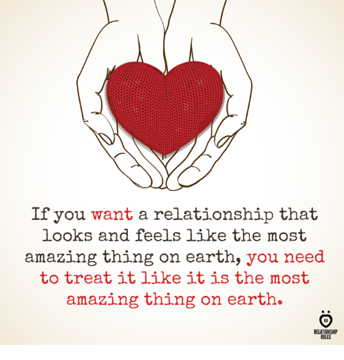 Earth, Amazing, and Thing: If you want a relationship that  looks and feels like the most  amazing thing on earth, you need  to treat itlike it is the most  amazing thing on earth.  RELATIONSHIP  RULES