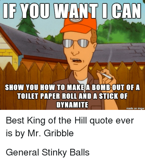 King of the Hill, Memes, and Generalization: IF YOU  WANT CAN  SHOW YOU HOW TO MAKE A BOMBOUT OF A  TOILET PAPER ROLL AND A STICK OF  DYNAMITE  made on  Best King of the Hill quote ever  is by Mr. Gribble General Stinky Balls