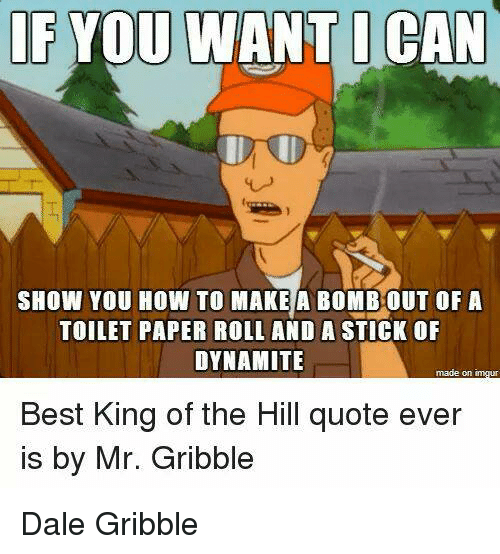 King of the Hill, Memes, and Best: IF YOU  WANT I CAN  SHOW YOU HOW TO MAKE A BOMBOUT OF A  TOILET PAPER ROLL AND A STICK OF  DYNAMITE  made on  Best King of the Hill quote ever  is by Mr. Gribble Dale Gribble