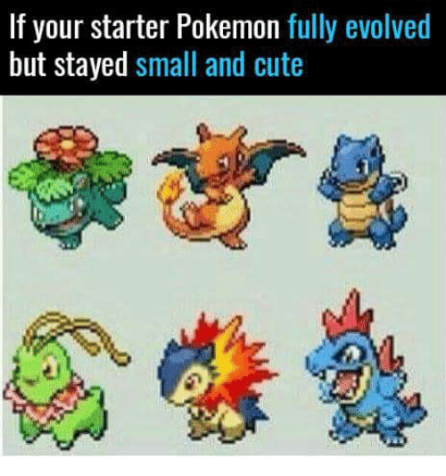 if your starter pokemon fully evolved but stayed small and cute