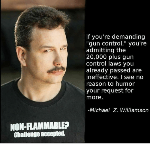 """Memes, Control, and Michael: If you're demanding  """"gun control,"""" you're  admitting the  20,000 plus gun  control laws you  already passed are  ineffective. I see no  reason to humor  your request for  more.  Michael Z. Williamson  NON-FLAMMABLE?  Challenge accepted"""